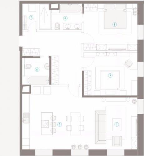 Трехкомнатная квартира на 4-ом этаже в ЖК ПОЛЯНКА 44.